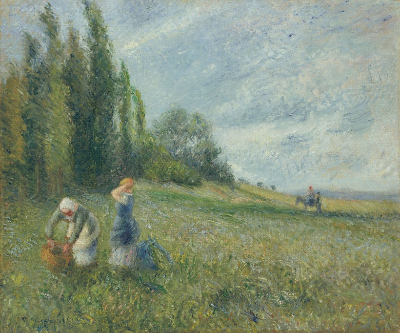 Camille Pissarro (1830-1903), Paysannes dans les champs, Pontoise, 1880. Oil on canvas. 18¼ x 21⅞ in (46.5 x 55.7 cm). Estimate $700,000-1,000,000. Offered in the Impressionist & Modern Art Evening Sale on 11 November at Christie's in New York