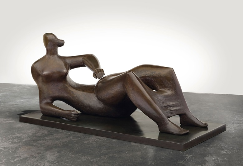 Henry Moore (1898-1986), Reclining Figure, conceived in 1982. Length 97 in (246.3 cm); height 46⅛ in (117 cm). Signed and numbered 'Moore 49'. Estimate $8,000,000-12,000,000. Offered in the Impressionist & Modern Art Evening Sale on 11 November at Christie's in New York © The Henry Moore Foundation. All Rights Reserved, DACS 2018  www.henry-moore.org