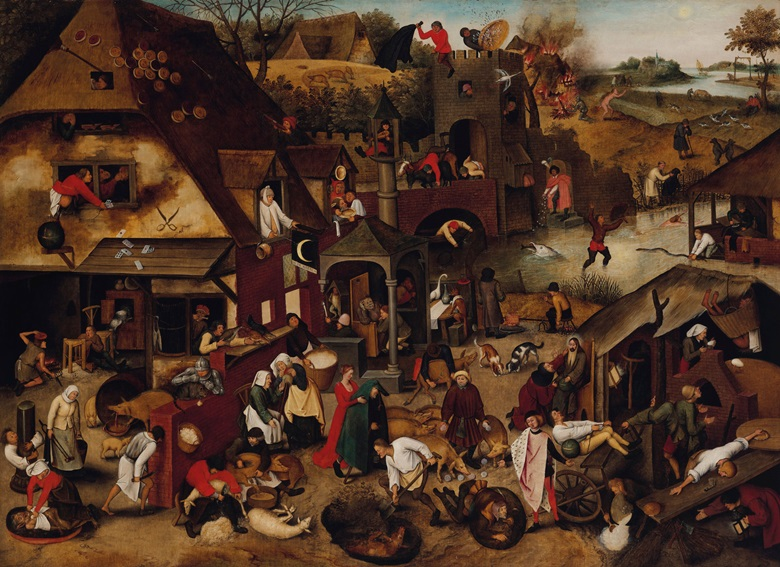 Pieter Brueghel II (1564-1637), The Flemish Proverbs, 1610. Oil on canvas. 47 x 64½ in. Offered in Old Masters in December at Christie's in London