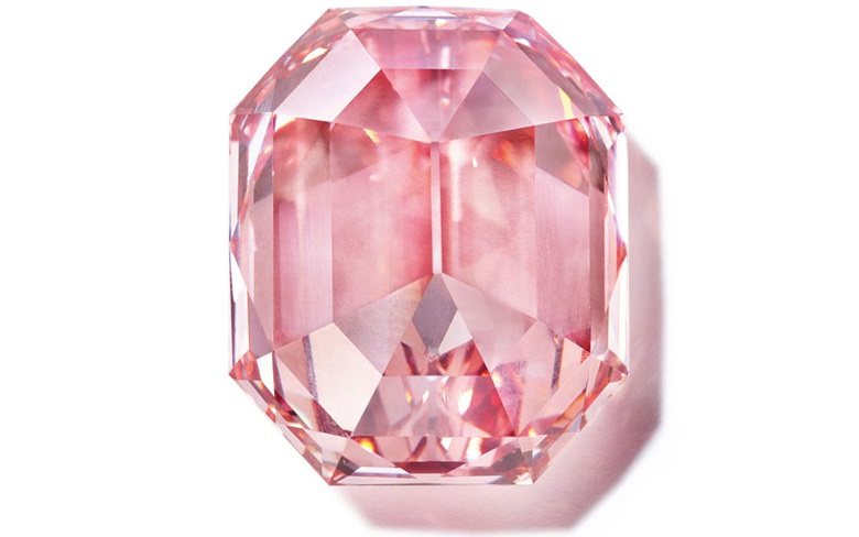 The Pink Legacy, a Fancy Vivid Pink cut-cornered rectangular-cut diamond of 18.96 carats. Estimate $30,000,000-50,000,000. Offered on 13 November in the Magnificent Jewels sale at Christie's in Geneva