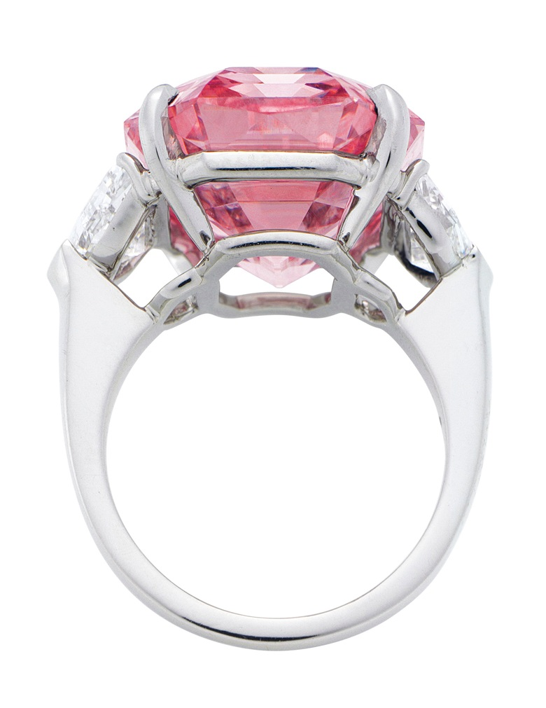 The Pink Legacy diamond in a ring