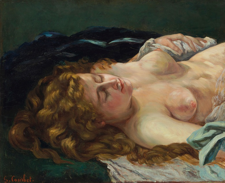 Gustave Courbet (1819-1877), Femme endormie aux cheveux roux, 1864. Oil on canvas, 22⅜ x 27½ in (56.8 x 69.9 cm). Estimate $3,500,000-4,500,000. Offered in European Paintings Part 1, 31 October 2018 at Christie's in New York