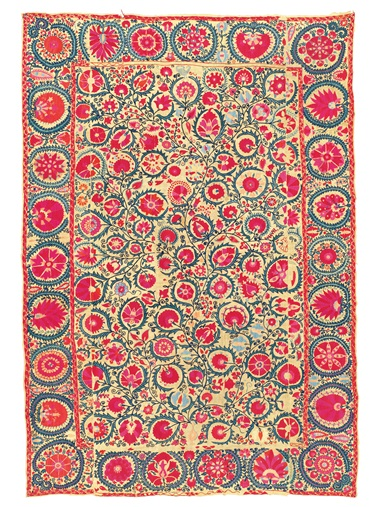 A suzani, Bukhara, Uzbekistan, 19th Century. 98 38 x 67in (250 x 170cm.). Estimate £5,000-7,000. Offered in the Art of the Islamic and Indian Worlds Including Oriental Rugs and Carpets 25 October 2018 at Christie's in London