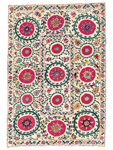 A suzani, Samarkand, Uzbekistan, 19th Century. 108 34 x 74 12in (276.4 x 189.2cm) Estimate £3,000-5,000. Offered in the Art of the Islamic and Indian Worlds Including Oriental Rugs and Carpets 25 October 2018 at Christie's in London
