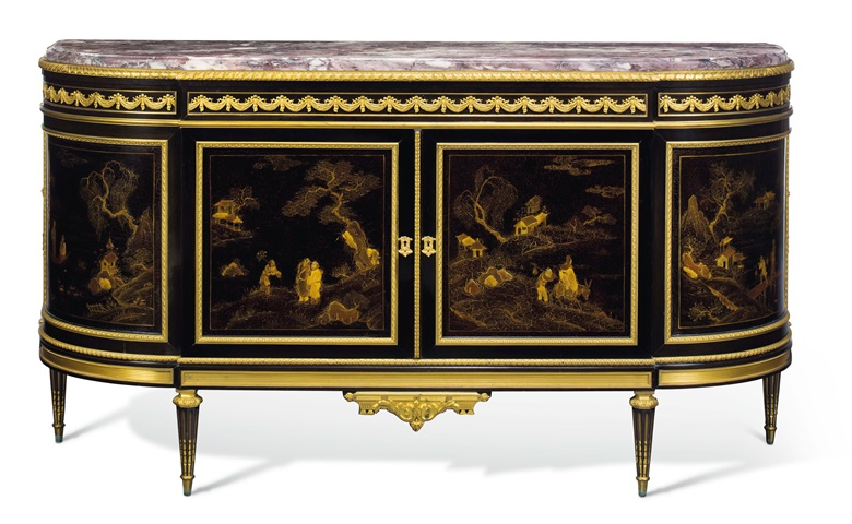 A French ormolu-mounted ebony, ebonized, and gilt-decorated lacquer commode after the model by Martin Carlin, by E. Guillaume-Edmond Lexcellent, Paris, late 19th century. 39.12 in. (100 cm.) high, 73 in. (185.5 cm.) wide, 22.14 in. (56 cm.) deep. Estimate $40,000–60,000. Offered in A Golden Age An Important Collection of 19th Century Furniture & Decorative Art, 16 October at Christies in