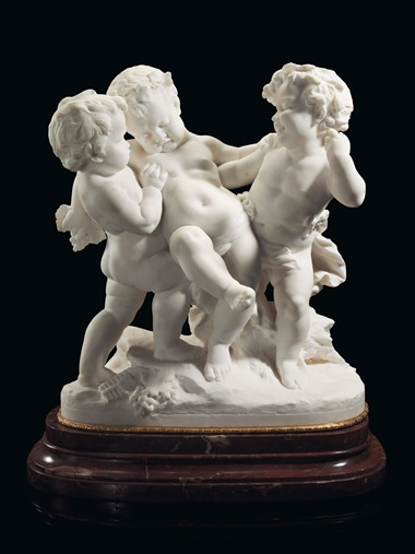 Benoît (known as Bénédict) Rougelet (French, 1834–1894), Le bacchanal, circa 1880-1890. Marble on an ormolu-mounted rouge marble plinth. La bacchanal 28 12 in (72.4 cm) high, 24 in (61 cm) wide. Estimate $40,000–60,000. Offered in A Golden Age An Important Collection of 19th Century Furniture & Decorative Art, 16 October at Christies in New York