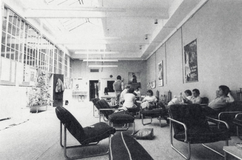 The Common Room at the old Christies Education HQ on Old Brompton Road, London, circa 1979