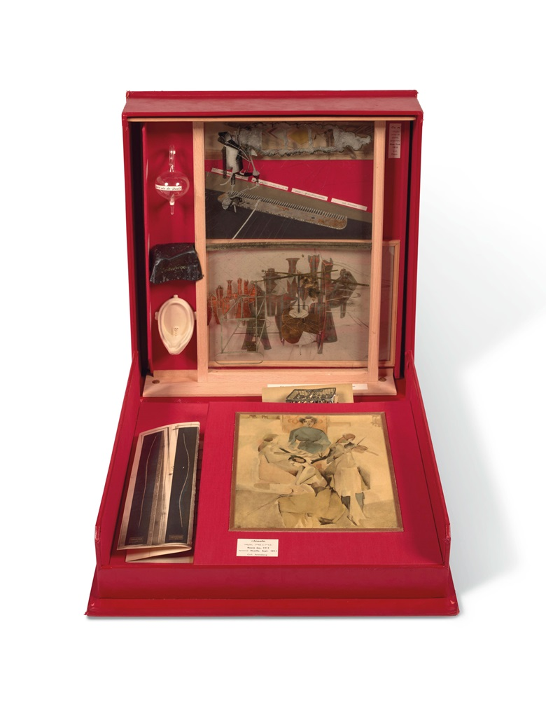 Marcel Duchamp (1887-1969), Boîte-en-valise, Series F, signed 'Marcel Duchamp' (on the interior of the box), wooden box and cardboard with red leather cover and red linen finish, including 80 miniature replicas and reproductions of works by Marcel Duchamp. 41.2 x 38.5 x 9.9 cm (16¼ x 15⅛ x 3⅞ in). Designed between 1935 and 1940; this version made in Paris and Milan in 1966