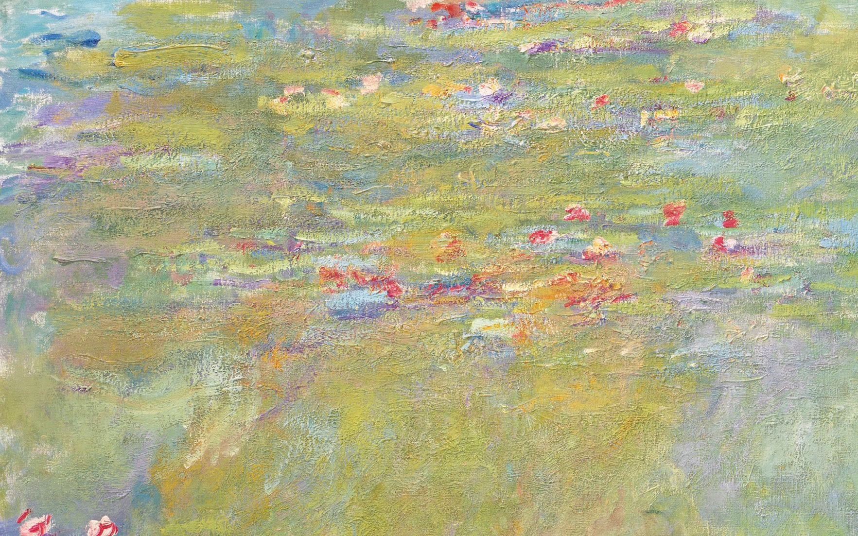 Detail of Claude Monets (1840-1926), Le bassin aux nymphéas, 1917-19.  Oil on canvas. 39¾ x 79 in (100.7 x 200.8 cm). Estimate $30,000,000-50,000,000. Offered in the Impressionist &