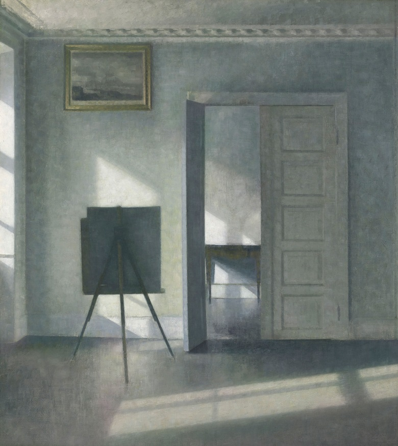 Vilhelm Hammershøi (1864-1916), Interior with an Easel, Bredgade 25, 1912. Oil on canvas. 31 x 27⅝ in (78.5 x 70.3 cm). Estimate $1,500,000-2,500,000. Offered in European Art Part 1 on 31 October 2018 at Christie's in New York