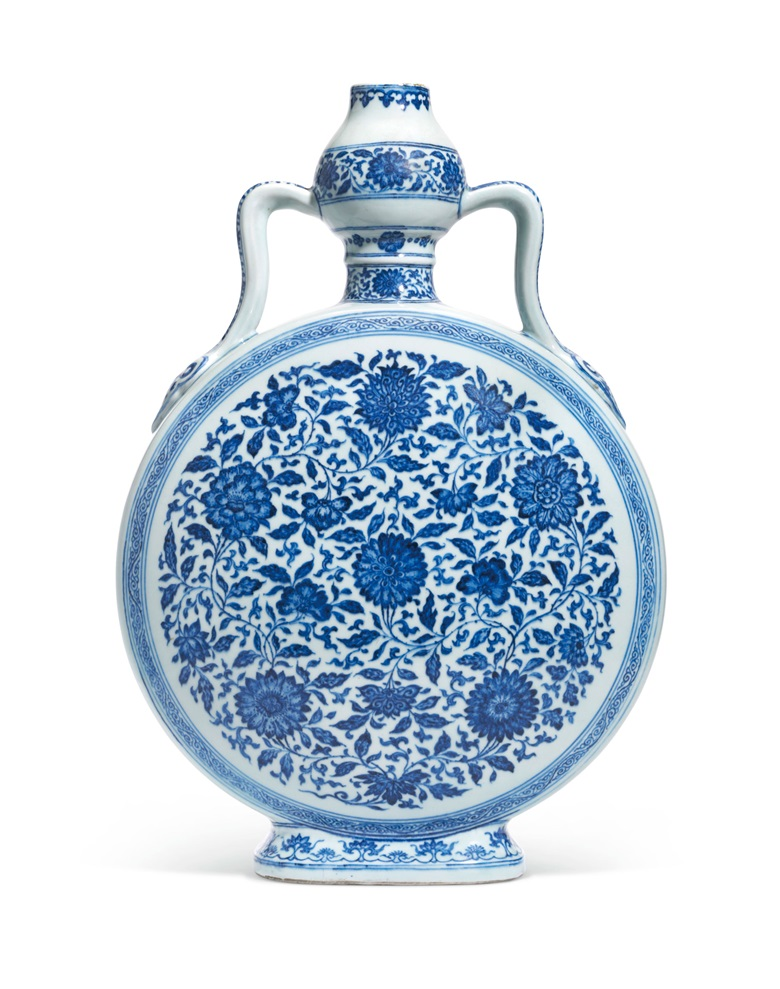 A rare and large Ming-style blue and white moonflask, bianhu. Yongzheng six-character seal mark in underglaze blue and of the period (1723-1735). Sold for £1,928,750 on 6 November 2018 at Christie's in London