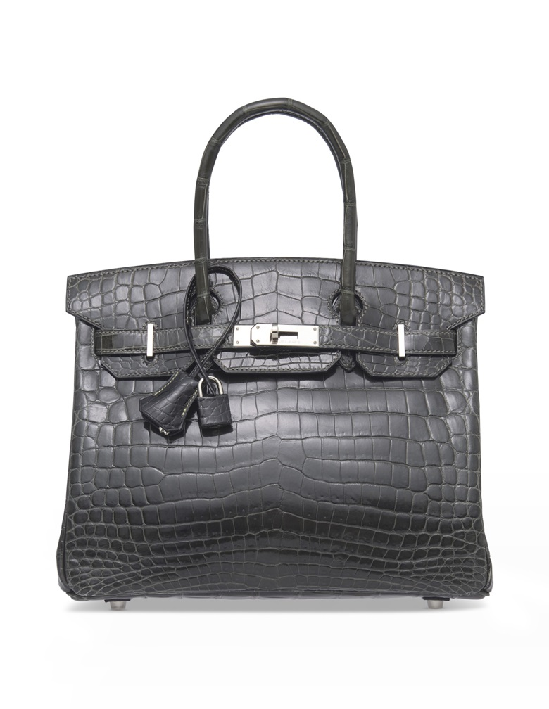 A shiny graphite niloticus crocodile Birkin 30 with palladium hardware 76438b1fd02e9