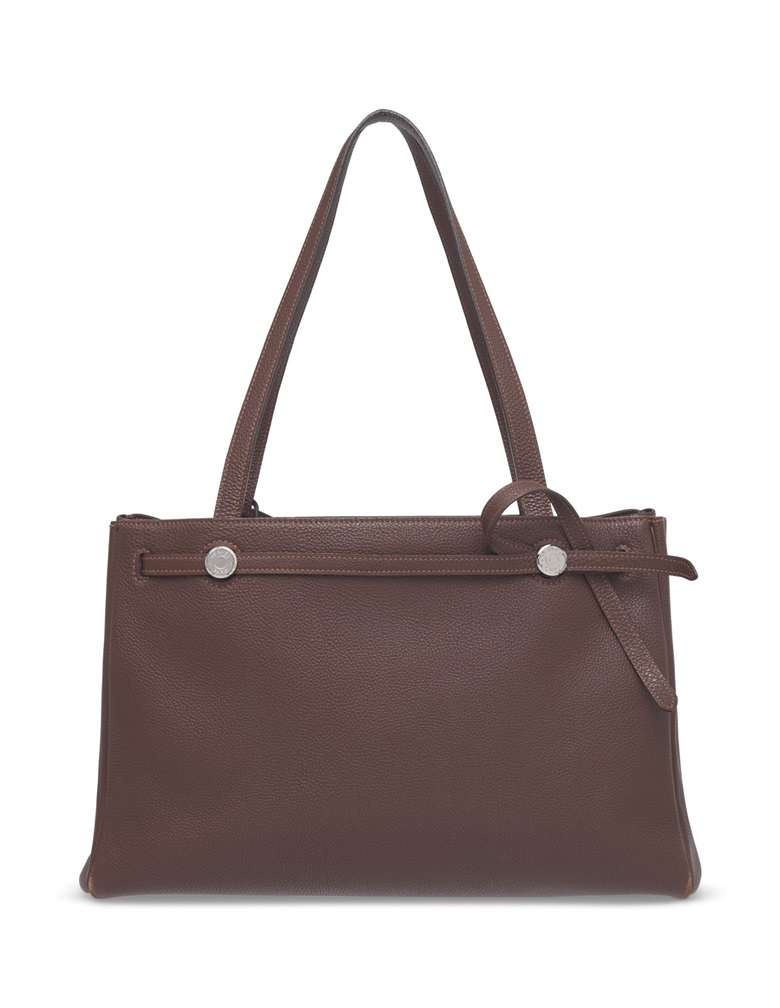 029851393651 1  Hermès handbags for below  500. A Havane Buffalo Skipper leather Cabana  35 with palladium hardware