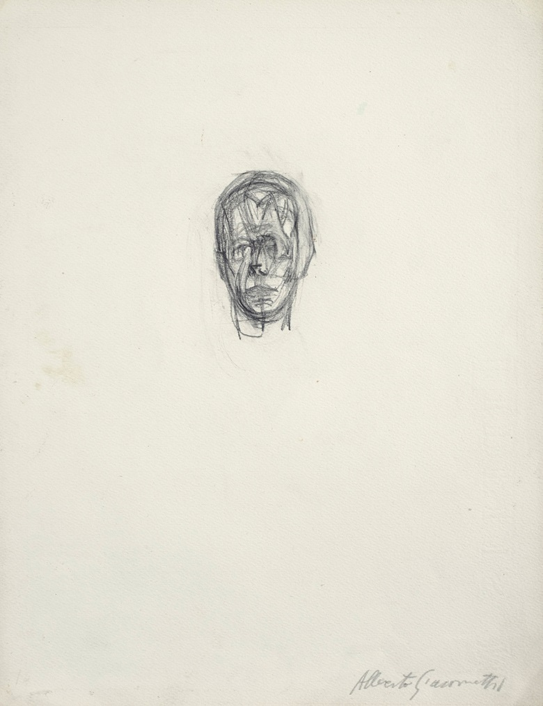 Property from the Estate of Jacquelyn Miller Matisse. Alberto Giacometti (1901-1966), Tête, drawn circa 1940-1941. Pencil on paper. 12½ x 9¾ in (31.8 x 24.8 cm). Estimate $30,000-50,000. Offered in Alberto & Diego Giacometti Masters of Design on 12 November at Christies in New York © 2018 Alberto Giacometti Estate  Licensed by VAGA and ARS, New York