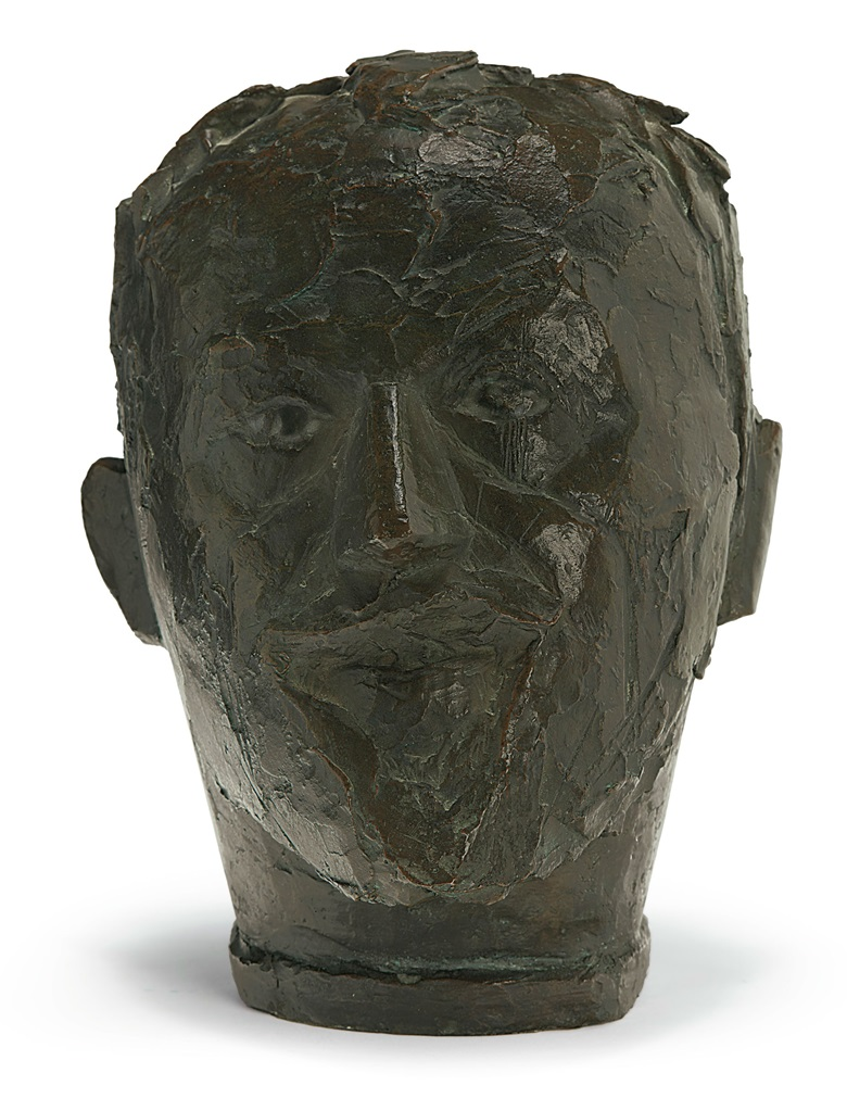 Alberto Giacometti, Tête du Père, Ronde II, conceived 1927-1930, cast circa 1963. Bronze with brown and green patina. 11 in (28 cm) high. Estimate $300,000-500,000. Offered in Alberto & Diego Giacometti Masters of Design on 12 November at Christie's in New York © 2018 Alberto Giacometti Estate  Licensed by VAGA and ARS, New York