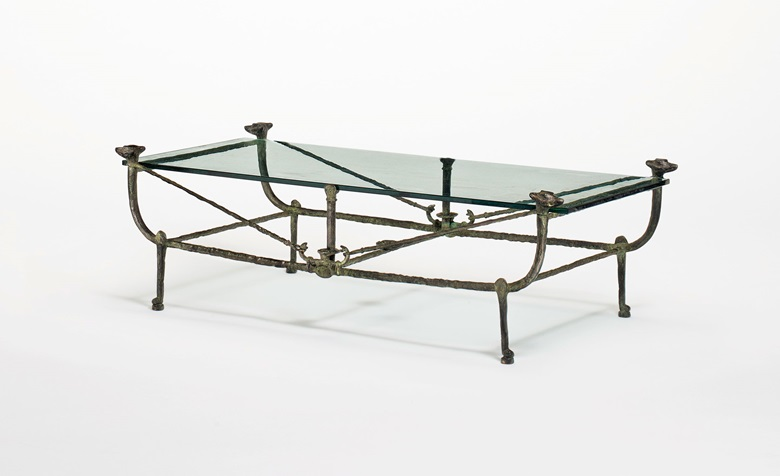 Property from the Estate of Jacquelyn Miller Matisse. Diego Giacometti (1902-1985), A Berceau low table, Modèle aux Renards, conceived circa 1975. Bronze with green patina. 10½ in (26.7 cm) high; 71 in (180.4 cm) wide; 11 in (28 cm) deep. Estimate $300,000-500,000. Offered in Alberto & Diego Giacometti Masters of Design on 12 November at Christie's in New York