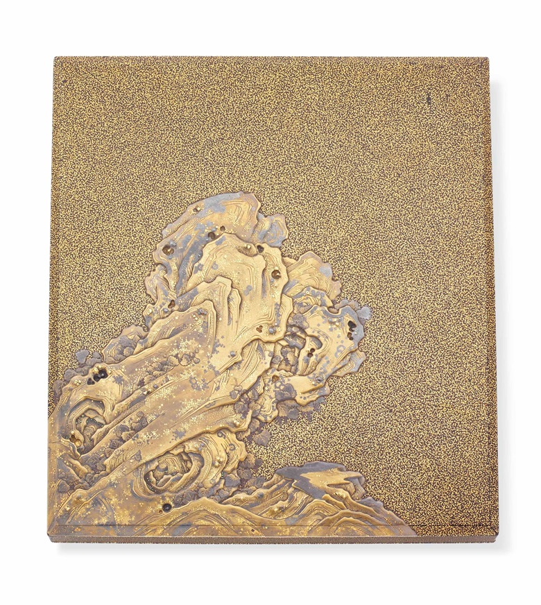 828429ba1 A fine and important lacquer suzuribako (writing box) with rocks and waves,  attributed
