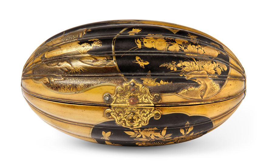 An unusual Japanese lacquer box for the Dutch market, Edo Period (17th century). 8¼ in (21.5 cm) wide. Estimate £1,200-1,800. Offered in The Soame Jenyns Collection of Japanese and