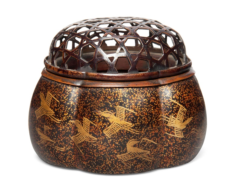A melon-shaped Japanese lacquer incense burner (koro), Momoyama period (late 16th century). Estimate £1,500-2,500. 2½ in (6.3 cm) diameter. Offered in The Soame Jenyns Collection of Japanese and Chinese Art, 1-8 November, online