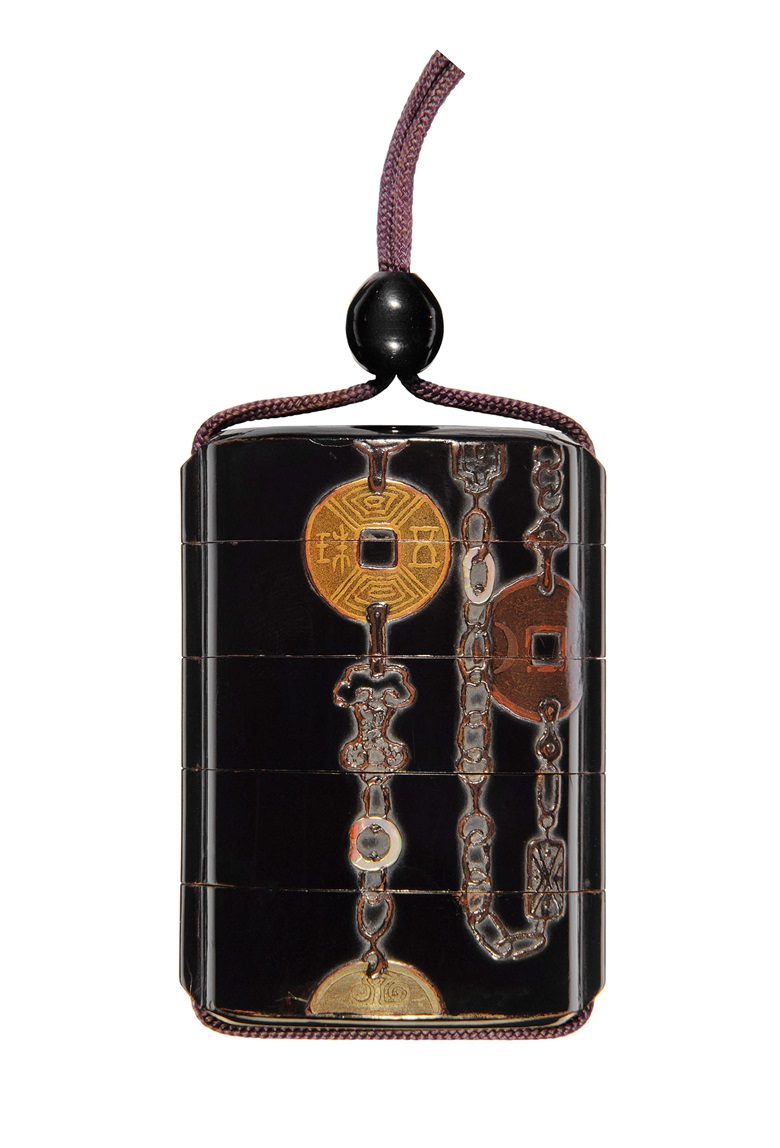A Japanese four-case lacquer inro with coins, Edo period (19th century). 2¾ in (7 cm) high. Estimate £1,000-1,500. Offered in The Soame Jenyns Collection of Japanese and Chinese Art, 1–8 November, online