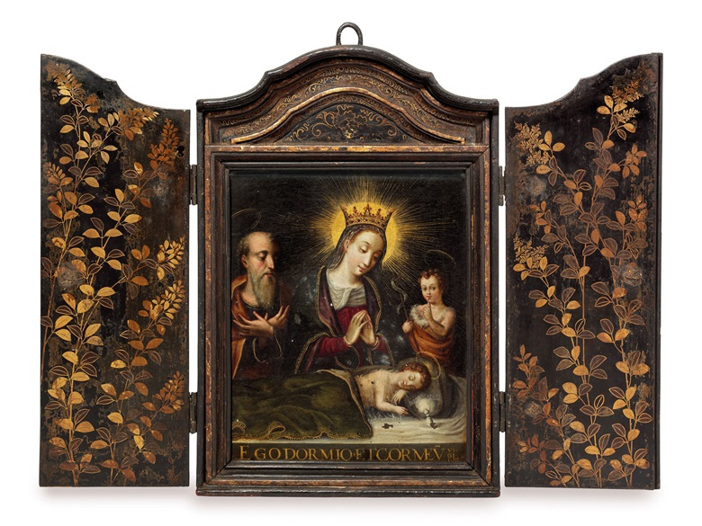 An important portable Christian shrine (seigan) commissioned by the Portuguese Jesuits, Momoyama period (late 16th century). 41.5 x 28 x 5 cm (frame); 23 x 28 cm (copper panel). Sold for £386,500 on 11 May 2015 at Christie's in London