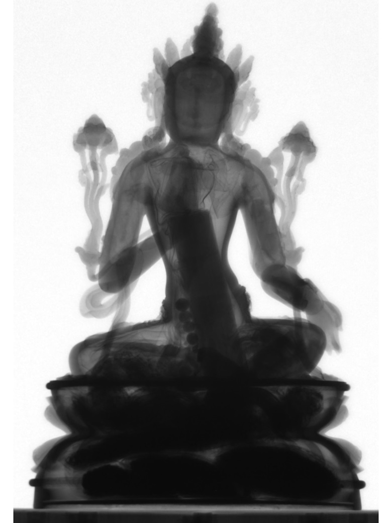 Radiographic scans of the seated figure of Avalokiteshvara reveal the auspicious objects that have been placed within it, and which are likely to have remained sealed since the 15th century