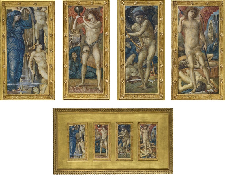 Sir Edward Coley Burne-Jones (1833-1898), Fortuna; Fama; Oblivio; and Amor The Triumph of Love, or Amor Vincit Omnia. 12⅞ x 7¾ in (32.6 x 19.7 cm) (canvas size). Sold for £457,250 on 5 June 2008 at Christie's in London
