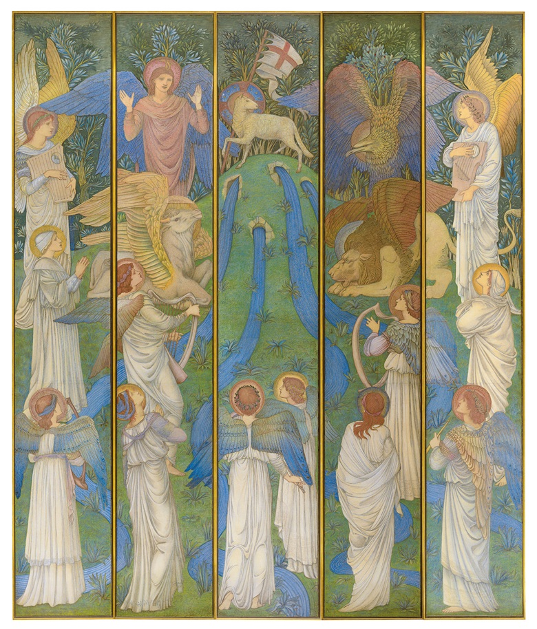 Sir Edward Coley Burne-Jones, Bart., A.R.A., R.W.S. (British, 1833-1898), Paradise, with the Worship of the Holy Lamb, executed circa 1875-1880. Five panels, one 133¾ x 22  in (339.7 x 56  cm), the others 133¾ x 21  in (339.7 x 53.3  cm). Sold for $972,500 on 31 October 2018 at Christie's in New York