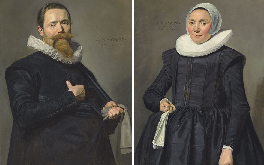 (Detail) Frans Hals' (15815-1666) Portrait of a Man Holding Gloves and Portrait of a Woman Holding a Handkerchief, both 1637. Oil on canvas, 36⅝ x 27 in (93 x 68.5 cm). Price realised £10,021,250 on 6