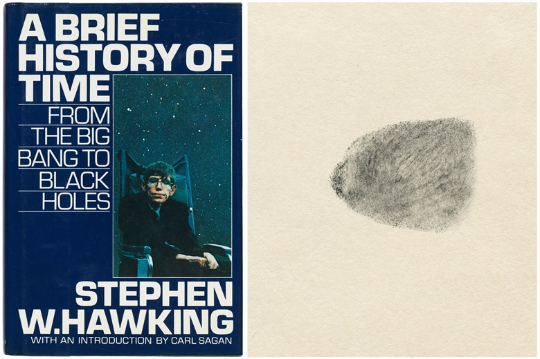 A Brief History of Time  signed with a thumbprint, Stephen Hawking. 1988. Octavo (230 x 153 mm). Estimate £2,000-3,000. This lot is offered in  On the Shoulders of Giants Newton, Darwin, Einstein, Hawking, 31 October to 8 November 2018, Online