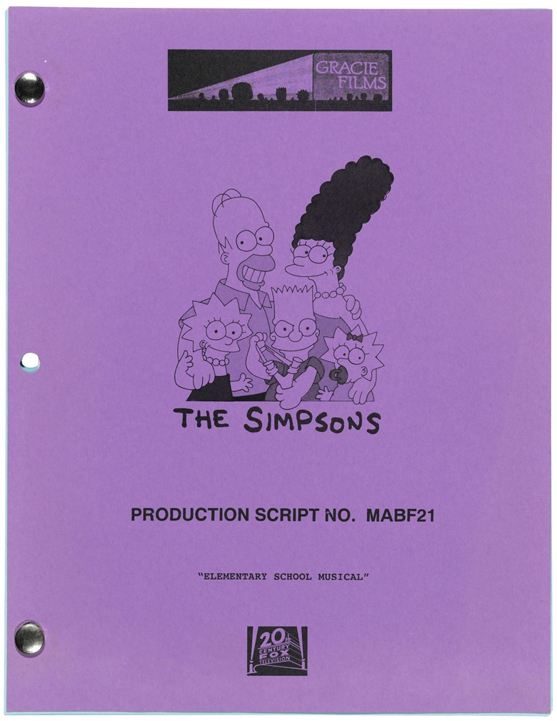 Stephen Hawking makes an appearance on The Simpsons, [Stephen Hawking]. 14 December 2009. 48 pages, 280 x 215 mm. Provenance from the estate of the late Professor Stephen Hawking. Estimate £2,000-3,000. This lot is offered in  On the Shoulders of Giants Newton, Darwin, Einstein, Hawking, 31 October to 8 November 2018, Online