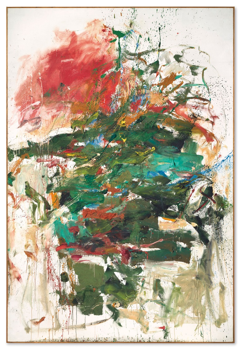 Joan Mitchell (1925-1992), 12 Hawks at 3 OClock, painted in 1960. 116⅜ x 78¾  in (295.6 x 200  cm). Estimate $12,000,000-16,000,000. This lot is offered in An American Place  The Barney A. Ebsworth Collection Evening Sale on 13 November 2018 at Christie's in New York © Estate of Joan Mitchell