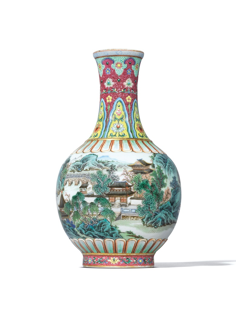 An extremely rare imperially inscribed yangcai  'landscape' vase, Qianlong six-character seal mark in underglaze blue and of the period (1736-1795). 7½ in (19.1 cm) high. Estimate on request. Offered in Multifarious Colours — Three Enamelled Masterpieces on 28 November at Christie's in Hong Kong