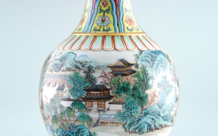 Detail of an extremely rare imperially inscribed yangcai  'landscape' vase, Qianlong six-character seal mark in underglaze blue and of the period (1736-1795). 7½ in (19.1 cm)