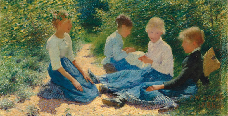 Philip Wilson Steer, O.M. (1860-1942), Chatterboxes. 19 x 37⅛  in (48.2 x 94.3  cm). Estimate £500,000-800,000. This lot is offered in British Impressionism on 20 November 2018 at Christie's in London