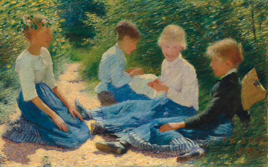 Philip Wilson Steer (1860-1942), Chatterboxes, 1886. Oil on canvas. 19 x 37⅛ in (48.2 x 94.3 cm). Estimate£500,000-800,000. Offered in the British Impressionism sale on 20 November at Christie's in