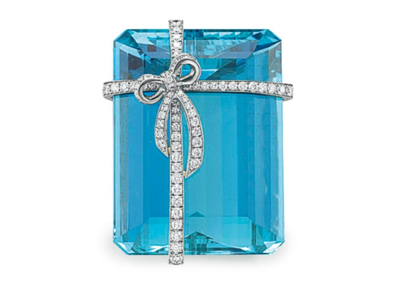 An aquamarine and diamond brooch, by Tiffany & Co. Sold for $32,500 on 18 October 2016 at Christie's in New York