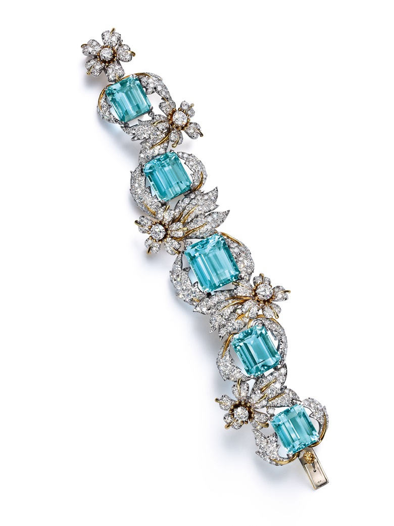 9bfa79eb0896 An aquamarine and diamond  Leaves and Flowers  bracelet