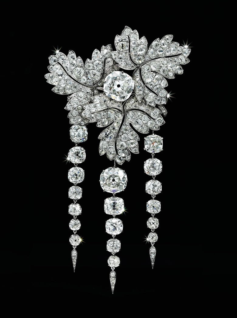 An antique diamond 'Feuilles de Groseillier' brooch by Alfred Bapst, circa 1855. Sold for CHF2,285,000 on 11 November 2004 at Christie's in Geneva. This was bought by Tiffany in 1887 from the sale of the French Crown Jewels