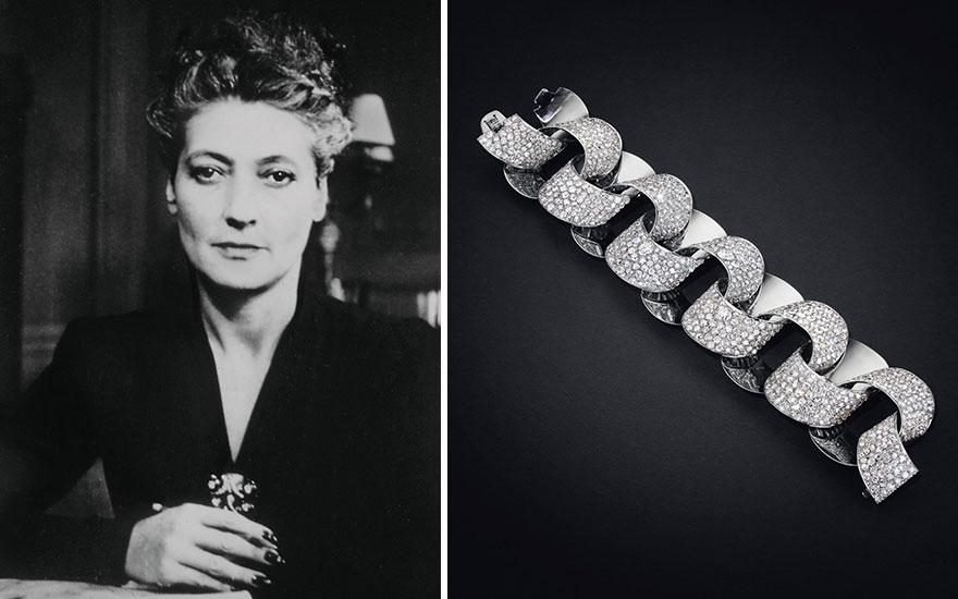 From left Suzanne Belperron, photographed in her office at 59 rue de Châteaudun in Paris, circa 1950. Photo courtesy of Belperron, LLC. Diamond Tube bracelet, Suzanne Belperron, circa 1948.