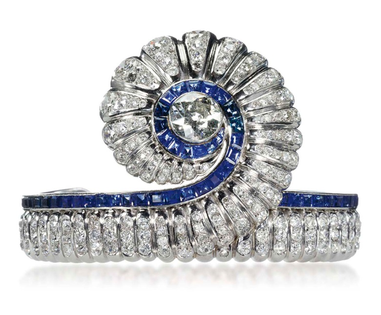 A sapphire and diamond bangle, by Suzanne Belperron, 1941-1945, inner diameter 6.0 cm, with French assay mark for platinum. Sold for CHF 159,000 on 14 May 2012 at Christie's in Geneva