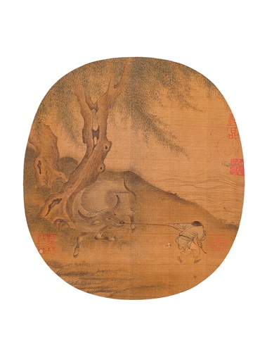 Li Tang, Cow and Herd Boy from Various Artists (10th-13th century), Fan Leaves of the Song Dynasty. A set of 18 round fan leaves, mounted and framed, inkink and colour on silk. Estimate HK$60,000,000-100,000,000. Offered in Fine Chinese Classical Paintings and Calligraphy on 27 November at Christie's in Hong Kong