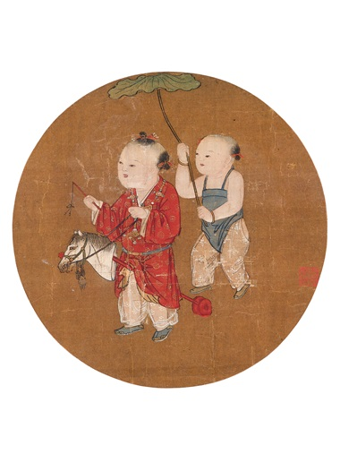 Su Hanchen, Children at Play from Various Artists (10th-13th century), Fan Leaves of the Song Dynasty. A set of 18 round fan leaves, mounted and framed, inkink and colour on silk. Estimate HK$60,000,000-100,000,000. Offered in Fine Chinese Classical Paintings and Calligraphy on 27 November at Christie's in Hong Kong
