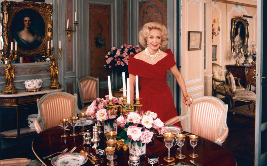 Elizabeth Stafford in the dining room of her apartment on Fifth Avenue in New York