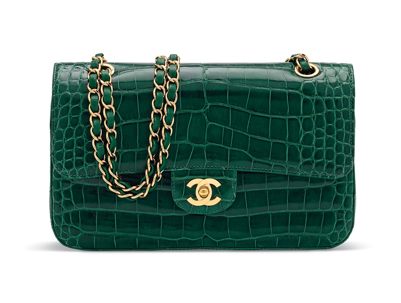 daf2e1e5eb A shiny emerald green alligator medium double flap bag with gold hardware