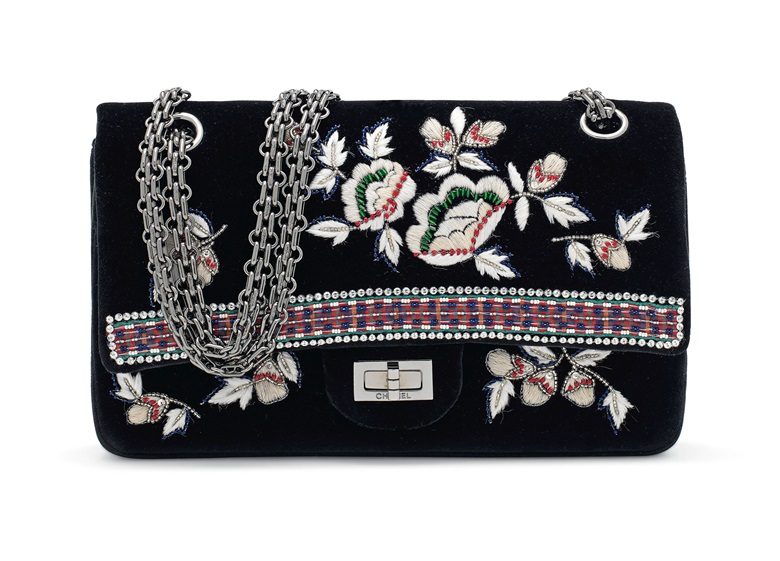 A Métiers D'arts Paris-Salzburg Lesage embroidery & velvet medium double flap 2.55 with Ruthénium hardware, Chanel, 2016, £2,000-3,000. Offered in Handbags & Accessories on 12 December at Christie's in London