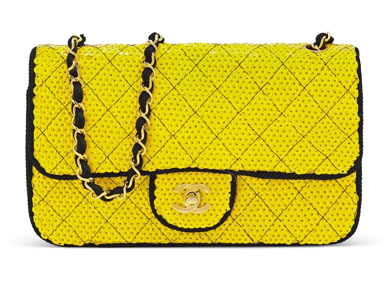 a84c81be89b A yellow sequin single flap bag with gold hardware, Chanel, 1991, £1,000