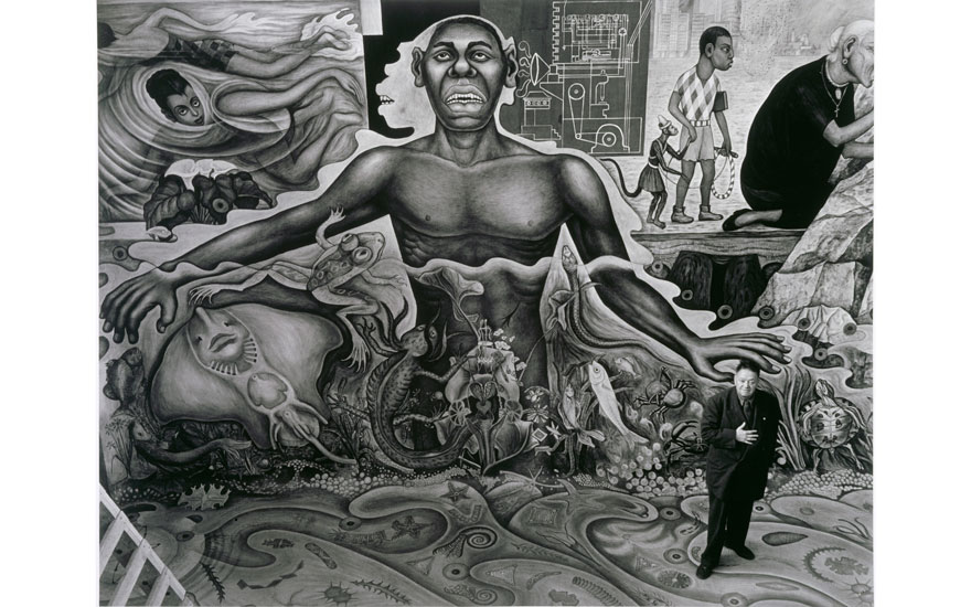 Diego Rivera with his mural El agua, el origen de la vida, (Water, source of life), Mexico City, 1951. Photo © Centre Pompidou, MNAM-CCI, Dist. RMN-Grand Palais  Gisèle