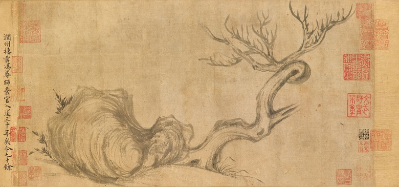Su Shi (1037-1101), Wood and Rock. Handscroll, ink on paper. Painting 26.3 x 50 cm (10⅜ x 19¾ in); overall with mounting 27.2 x 543 cm (10¾ x 213¾ in). Colophons by Liu Liangzuo (11th century), Mi Fu (1051-1107), Yu Xilu (1278-1368) and Guo Chang (1563-1622). Forty-one collector's seals, including one of Liu Liangzuo, one of Mi Fu, 11 of Wang Houzhi (1131-1204), three of Yu Xilu, nine of Yang Zun
