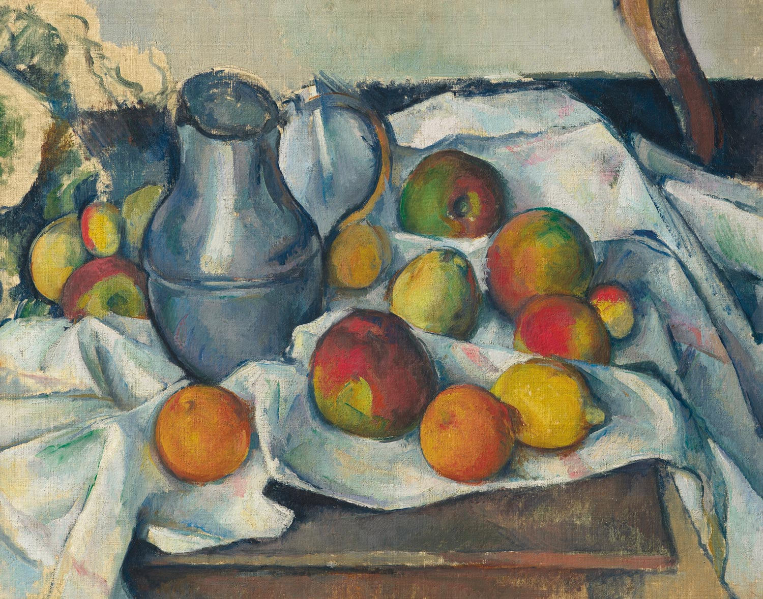 Paul Cézanne (1839-1906), Bouilloire et fruits, 1888-1890. Oil on canvas. 18 ⅜ x 23 in. Estimate on request. Offered in the Impressionist and Modern Art Evening Sale on 13 May at Christie's in New York. Newhouse Masterpieces from the Collection of S.I. Newhouse
